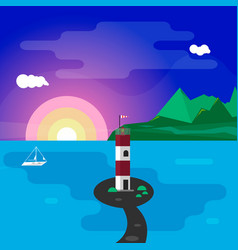 lighthouse at sunset vector image