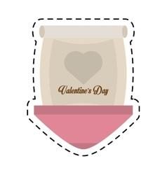 Love parchment message heart cut line vector