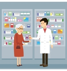 Pharmacist Old Woman Medicine vector image vector image