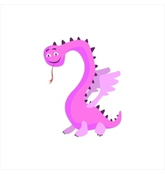 Pink dragon childish monster vector