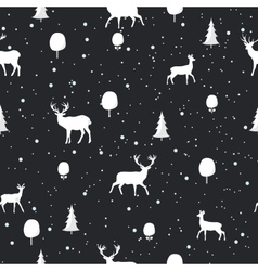 Seamless christmas pattern with deer silhouettes vector