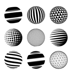 Set of black abstract sphere vector image