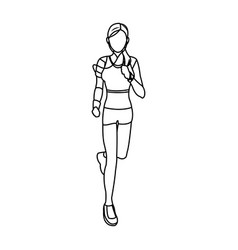 Sport woman running with smart glasses wearable vector