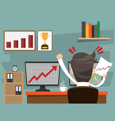 successful businessman happy sitting on desk and vector image