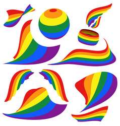 symbols of lgbt rainbow pride flag circle vector image