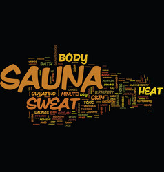 The minute sauna therapy text background word vector