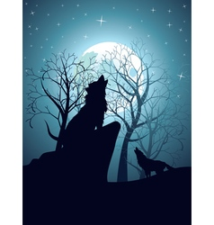 Wolf howling in the night forest9 vector