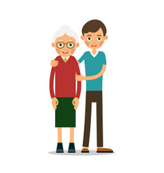 young boy helps an old woman vector image vector image