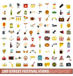 100 street festival icons set flat style vector