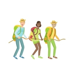 Thee Hikers Holding To The Rope vector image