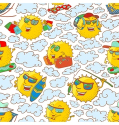 pattern with sun characters in summer activity vector image