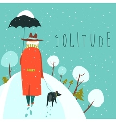 Lonely old man walking with dog in a snowy park vector