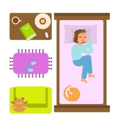 Sleeping woman in bedroom vector