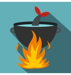Cooking fish soup on a fire icon flat style vector image