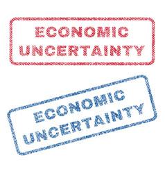 Economic uncertainty textile stamps vector