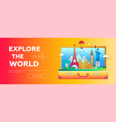 Explore the world - line travel banner vector