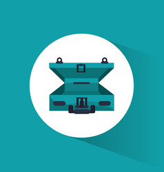 open green suitcase travel icon vector image