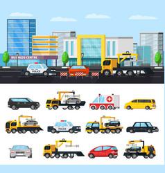 car evacuation elements concept vector image