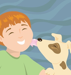 Little boy with puppy vector