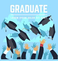 High school graduating students throw black vector