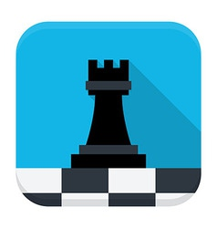 Game chess flat app icon with long shadow vector