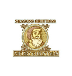 Santa Claus Father Christmas Holly Etching vector image