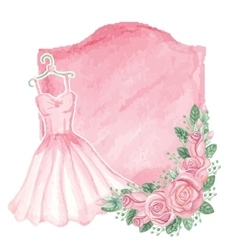 Watercolor pink dress roses decorbadgevintage vector