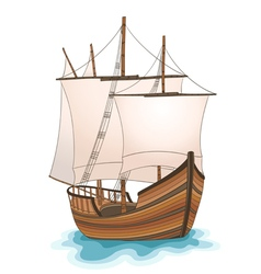 Wooden ship vector