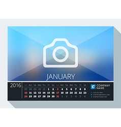 January 2016 stationery design print template desk vector