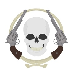 Skull with two revolvers and lasso emblem vector