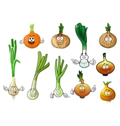 Green leek and bulb onion vegetables vector