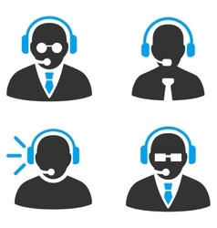 Call center operators flat bicolor icons vector