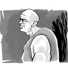 Muscular bald man vector