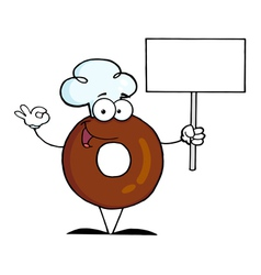 Donut cartoon character holding a blank sign vector