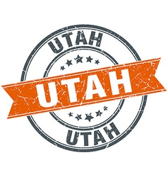 Utah red round grunge vintage ribbon stamp vector