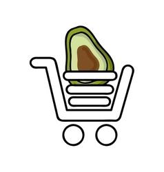 Avocado in shopping cart isolated icon design vector