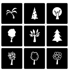 black trees icon set vector image