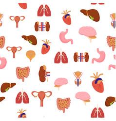cartoon human internal organs background pattern vector image vector image
