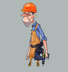 Cartoon sad man in helmet and working clothes vector
