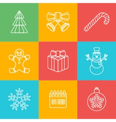 christmas outline icon set on colored back vector image vector image