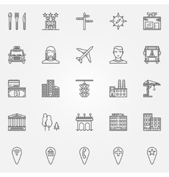City line icons set vector image