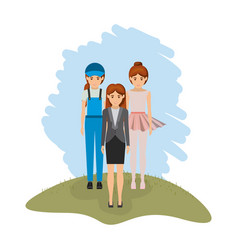 Color landscape with business woman and female vector