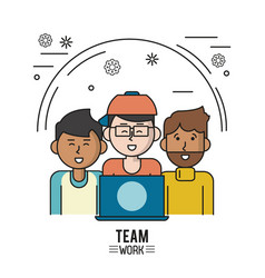 Colorful poster of team work with half body men vector