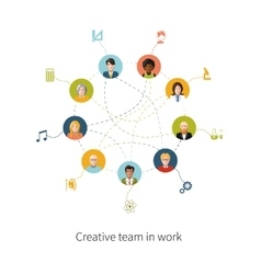Creative team in work people avatars with signs vector image vector image