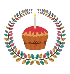 crown of leaves with cupcake with red cream and vector image vector image