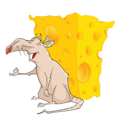 cute rat and cheese cartoon vector image vector image