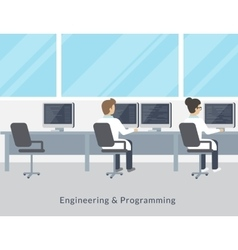 Engineering and programming working process vector image