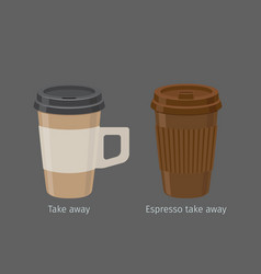 espresso in paper cups with lid and handle vector image vector image
