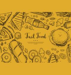 fast food retro restaurant menu cover vector image vector image