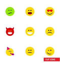 Flat icon face set of party time emoticon love vector